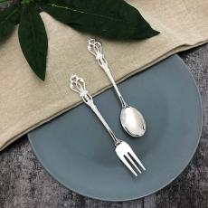 SALUS 復古雕花午茶餐具-2件組(銀)